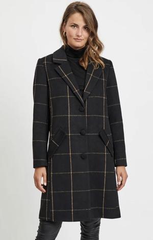 Vila Long Checked Coat, £78, La Redoute