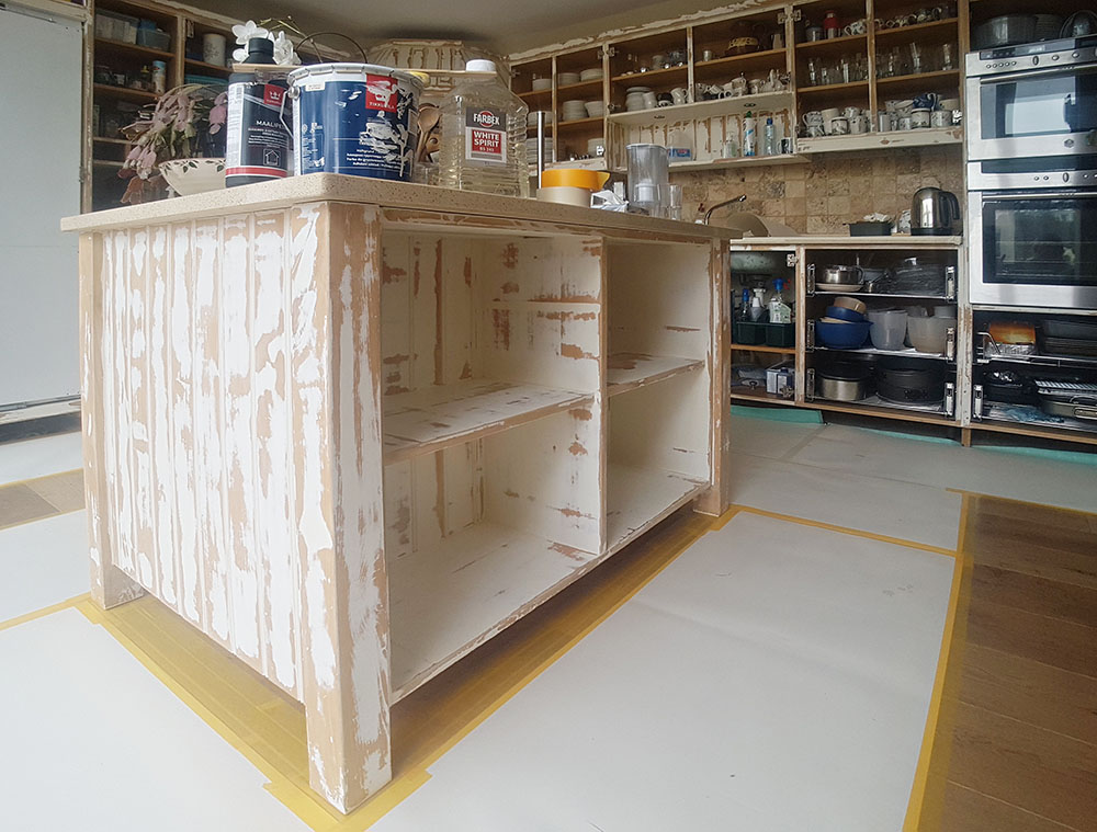 The kitchen island unit stripped back as best I could to the wood