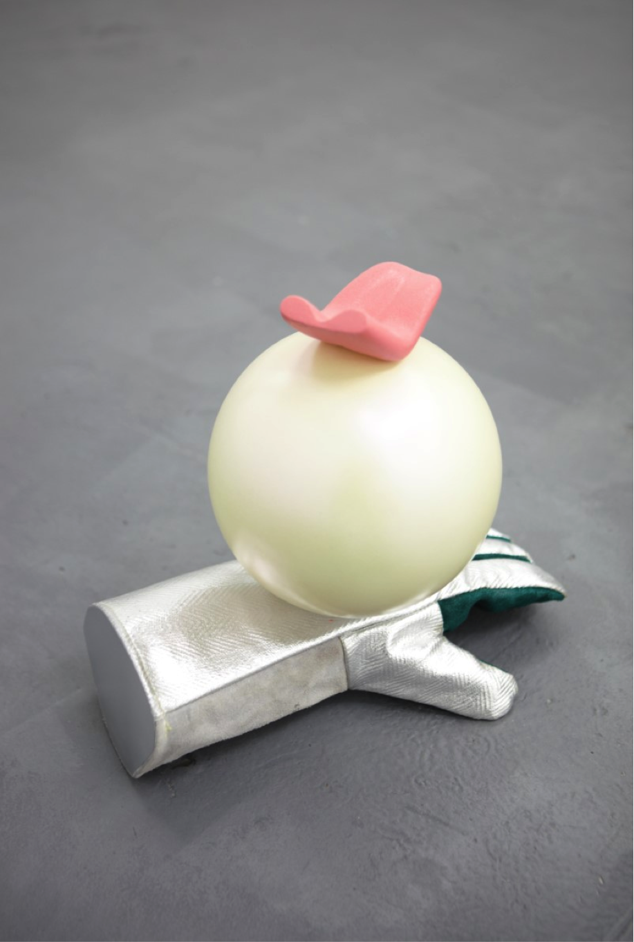 Richard Hughes .I Don't Want To Know About Evil.   2017     Found object, Plaster, 2 part Epoxy Resin, Primer, Spray Paint, Unfired Clay, Metal rod. 420X170X250mm