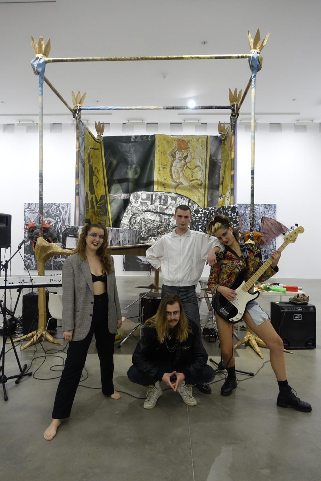Chlamydia the Band performing at Monster Chetwynd's solo show 'The Owl with the Laser Eyes' at the Fondazione Sandretto Re Rebaudengo in Turin, 2018