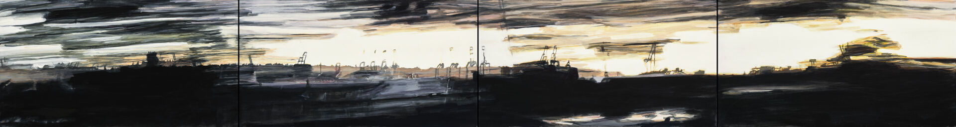 """Tree Shards: Horbor View, oil on panel, 10"""" x 75"""", four panels"""