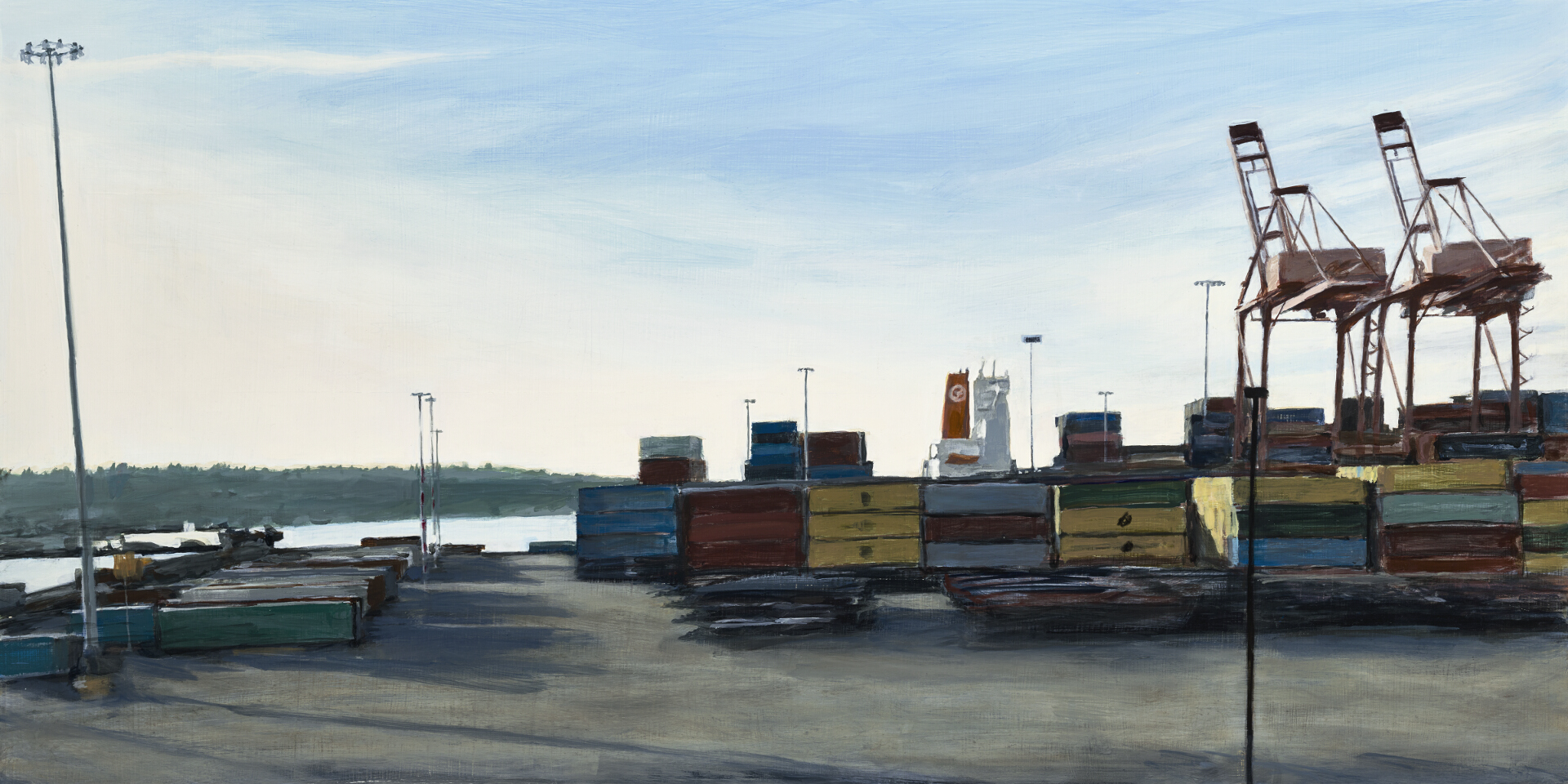 "Two Cranes , oil on panel, 18"" x 36"""