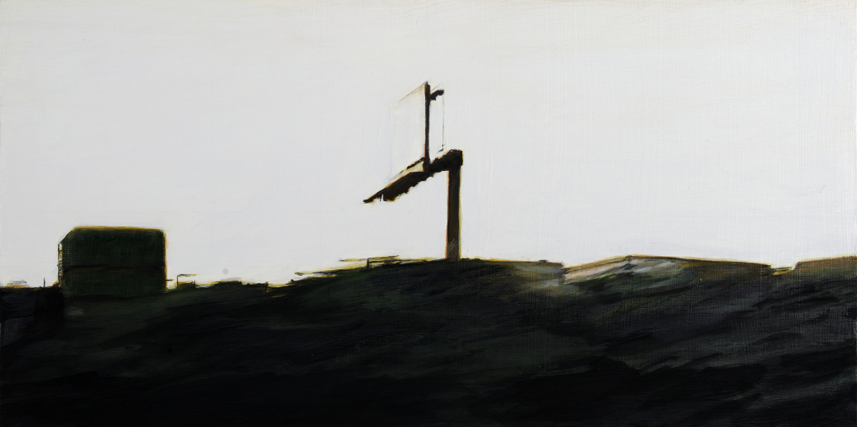 """Lone Sign , oil on panel, 11"""" x 22"""""""