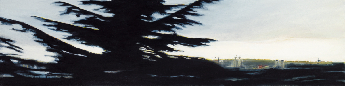 "One Tree,  oil on canvas, 10"" x 40"""