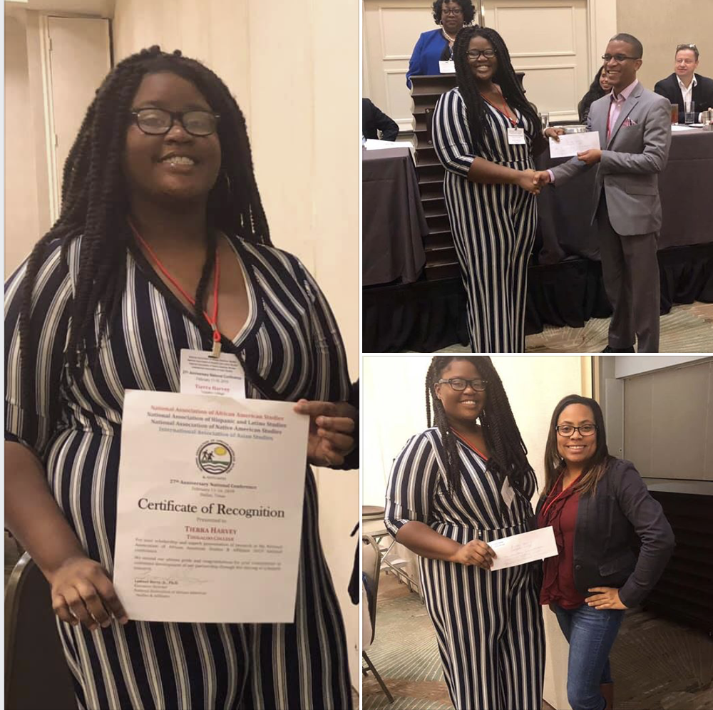 """Congratulations to Tierra Harvey - Congratulations to Tierra Harvey for winning first (1st) place on the research paper competition at the 2019 NAAAS Conference. Her research, """"An Analysis of Socioeconomic Status on Children of Color Affective Development in Preschool,"""" will be published on this website late this spring."""
