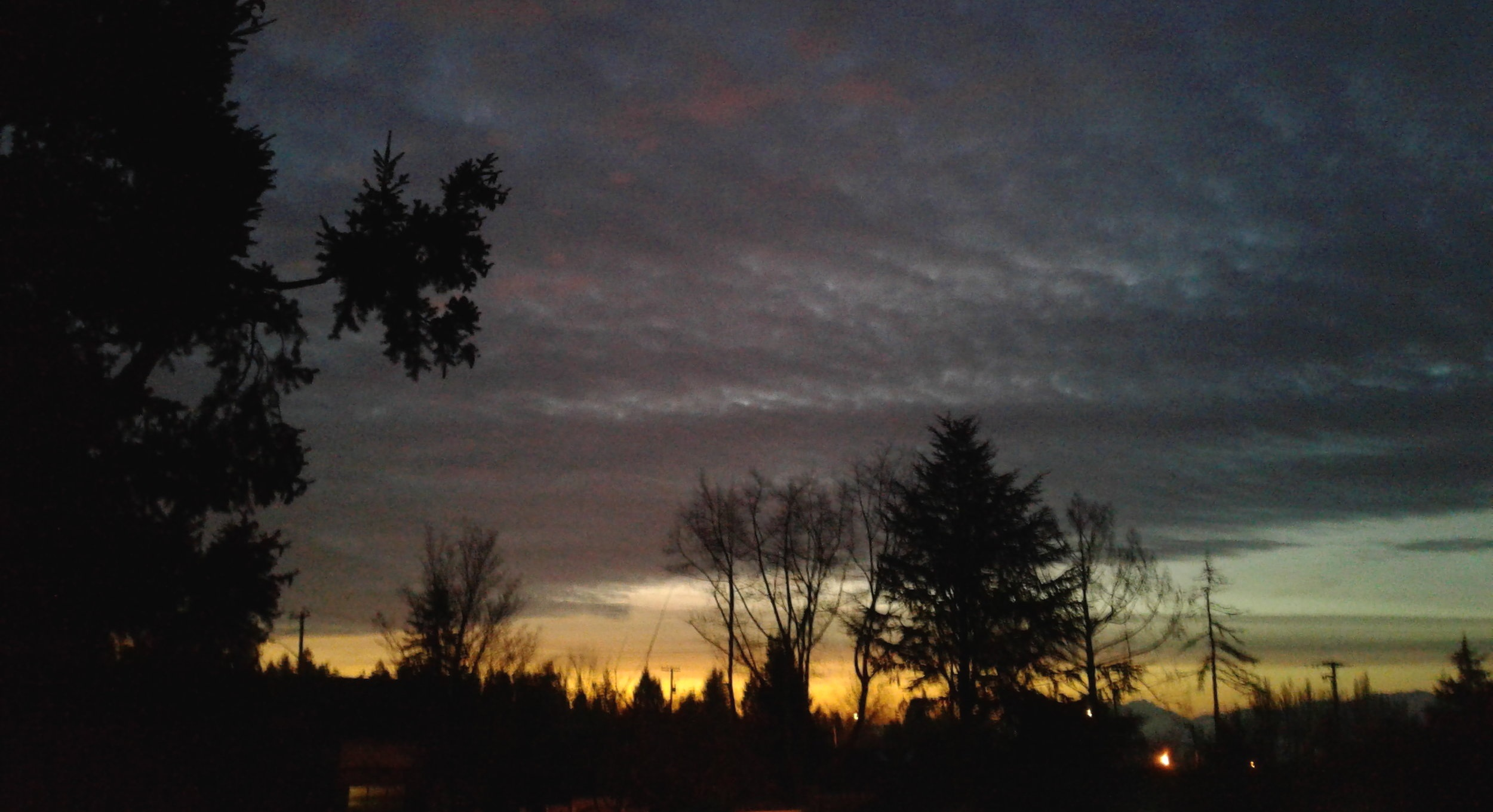 Sunrise from our breakfast table in Comox this morning