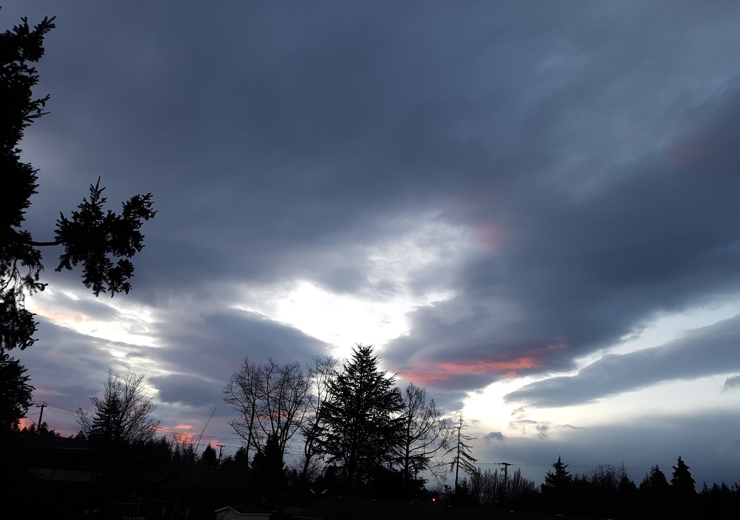 View of sunrise from our breakfast table this morning in Comox