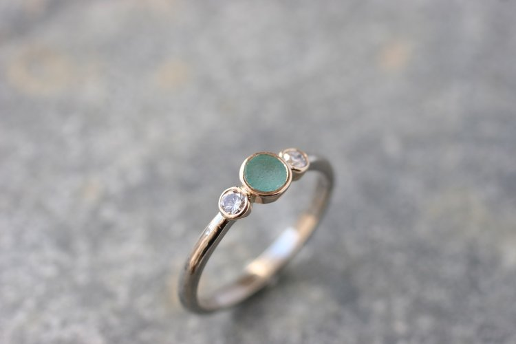Wide satin Finish Silver and 9ct gold ring Green Cornish sea glass