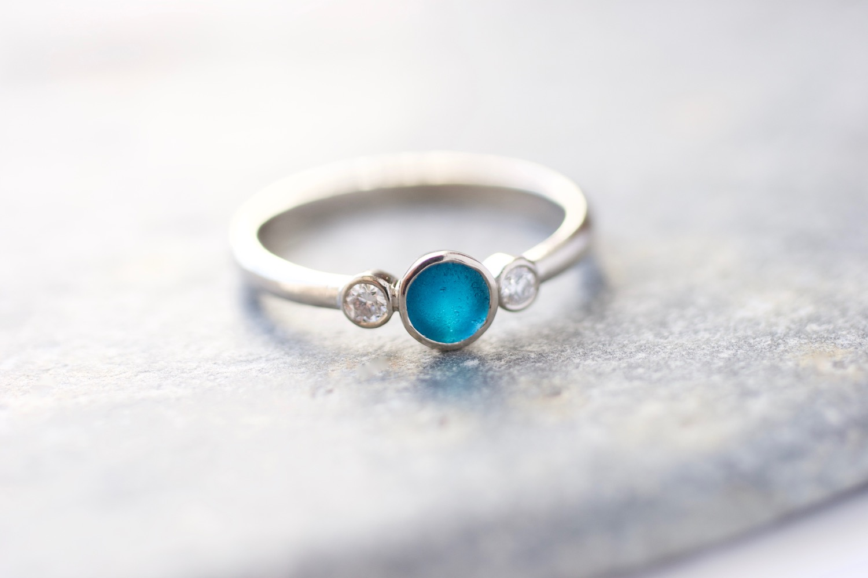 Seaglass Ring  Beach Sea Glass Ring  Electroformed Ring  Boho Ring  Seaglass Jewelry  Electroformed Sea Glass  Blue Glass Ring Bermuda
