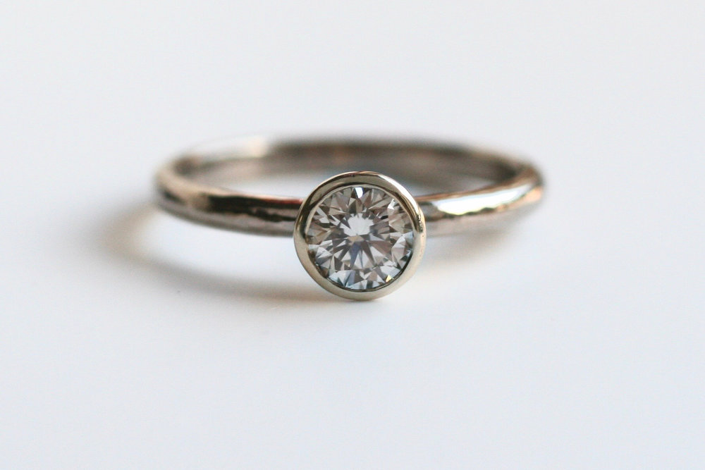 0.43ct recycled diamond rosen solitaire in 14ct white gold
