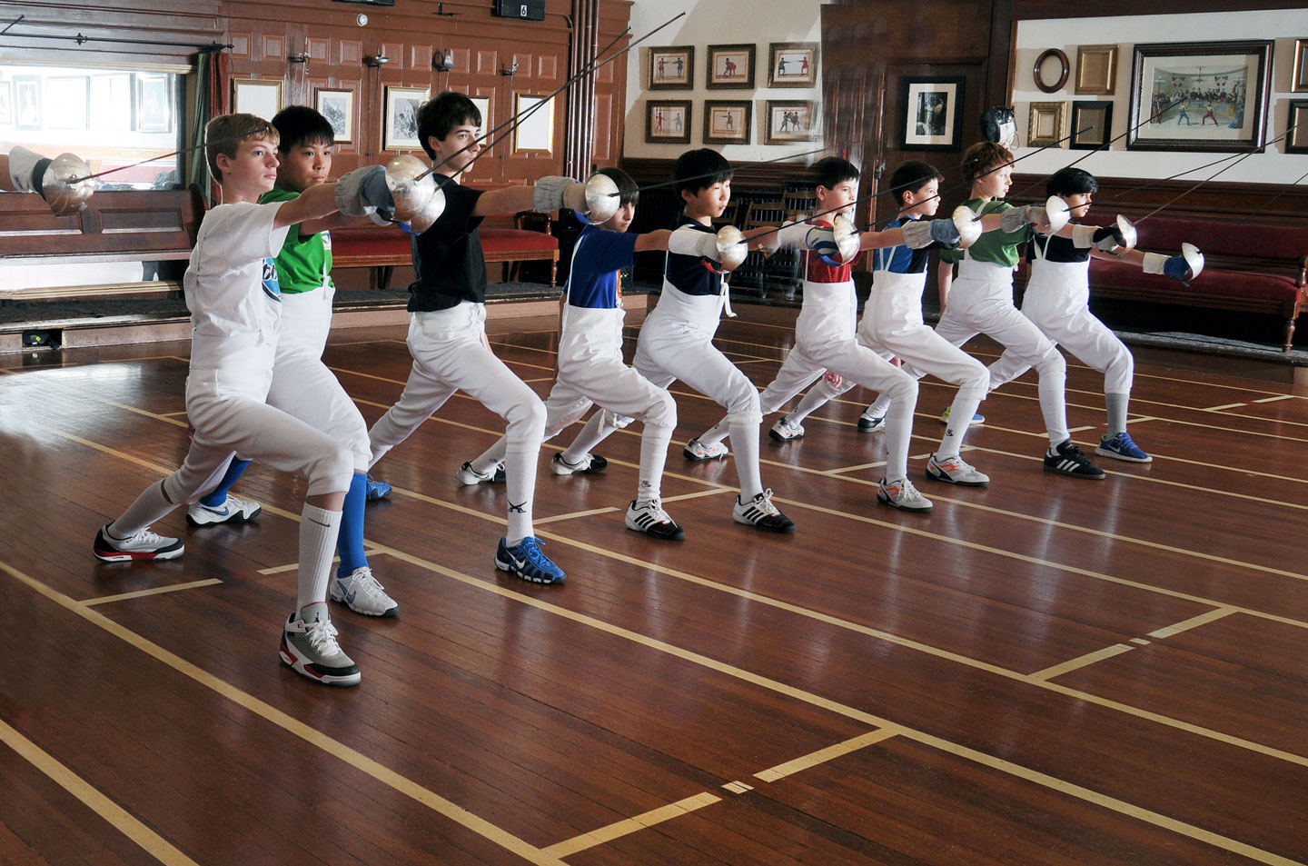Youth fencers at club practice