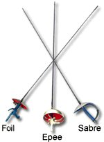 The 3 weapons in fencing