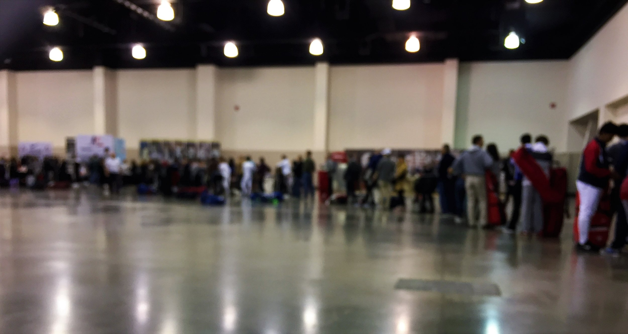 Equipment check line at 7.30am on Saturday, October 13