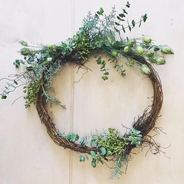 Grapevine, Eucalyptus, Succulents, Nigella Pods