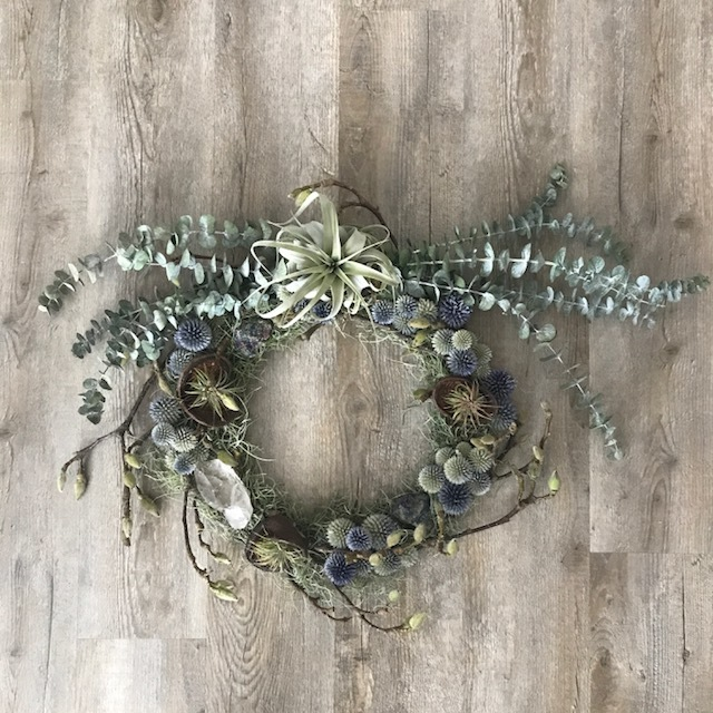 Japanese Magnolia Branches, Blue Thistle, Eucalyptus, Moss, Airplants and Crystals
