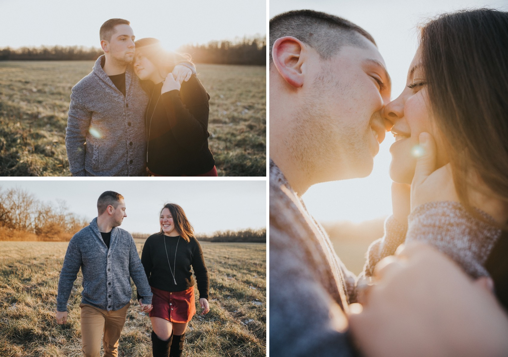 A couple having fun during their sunset engagement session.