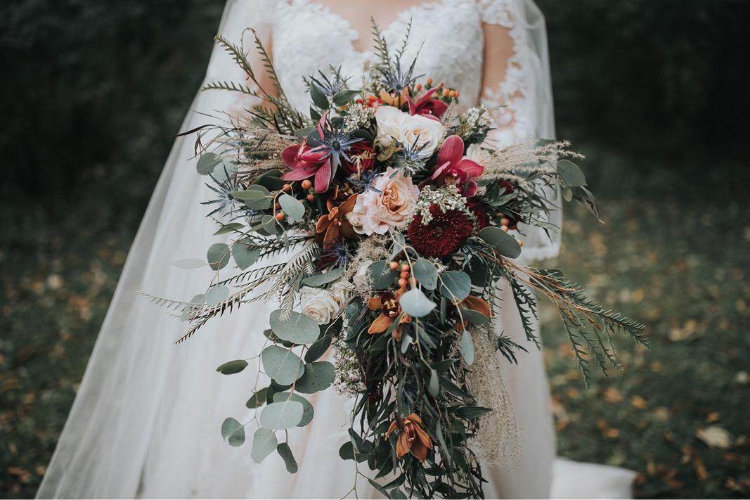 A photo of the brides bouquet