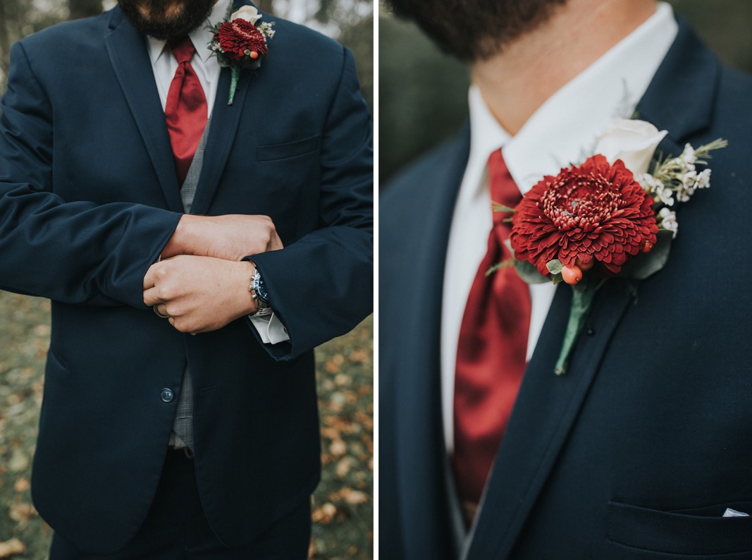 A photo of the grooms details.