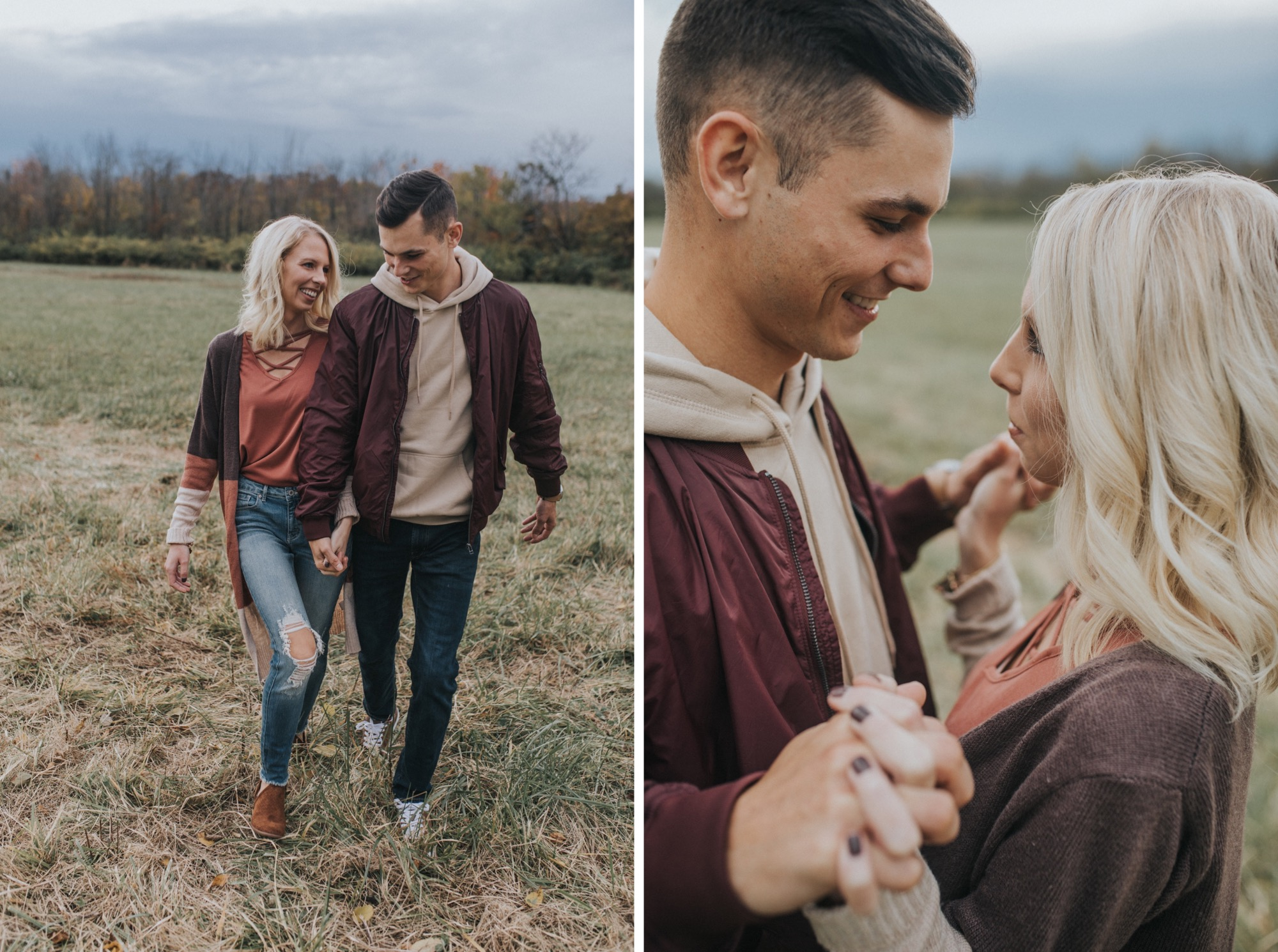 a couple having fun at their engagement session