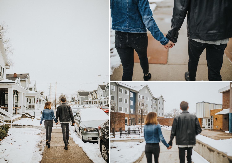 couple walking around the university of Dayton
