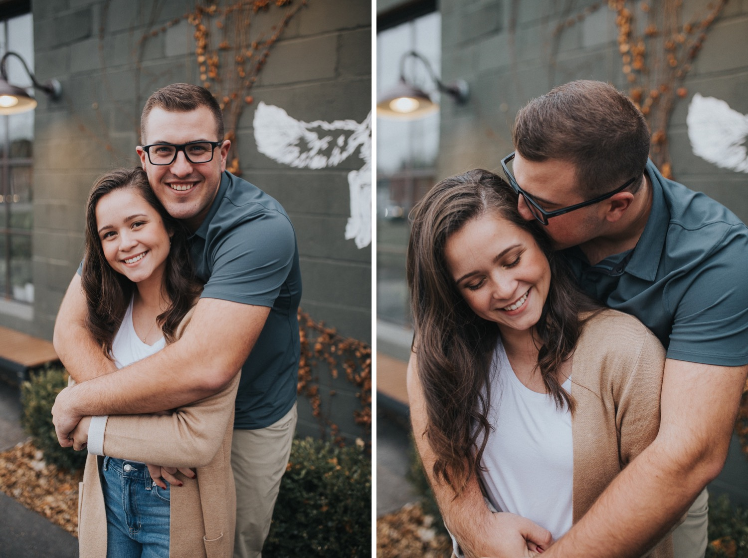 a couple in love and having fun at their engagement session