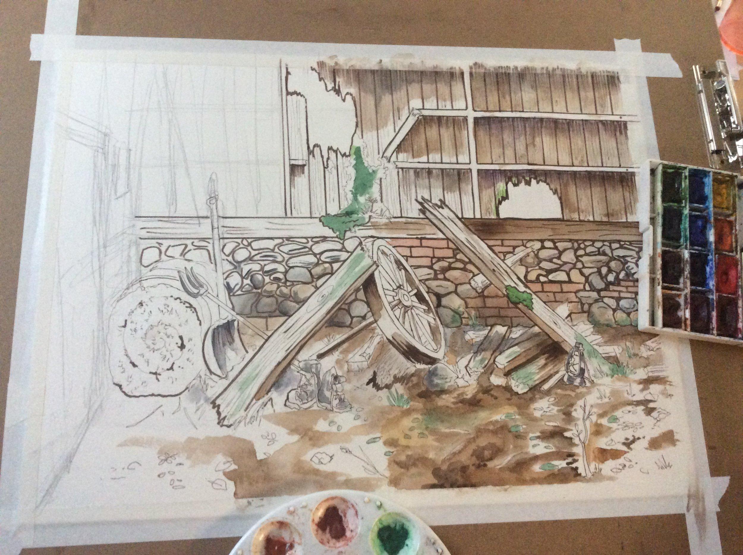 Work in progress-> Rendered still of same scene.