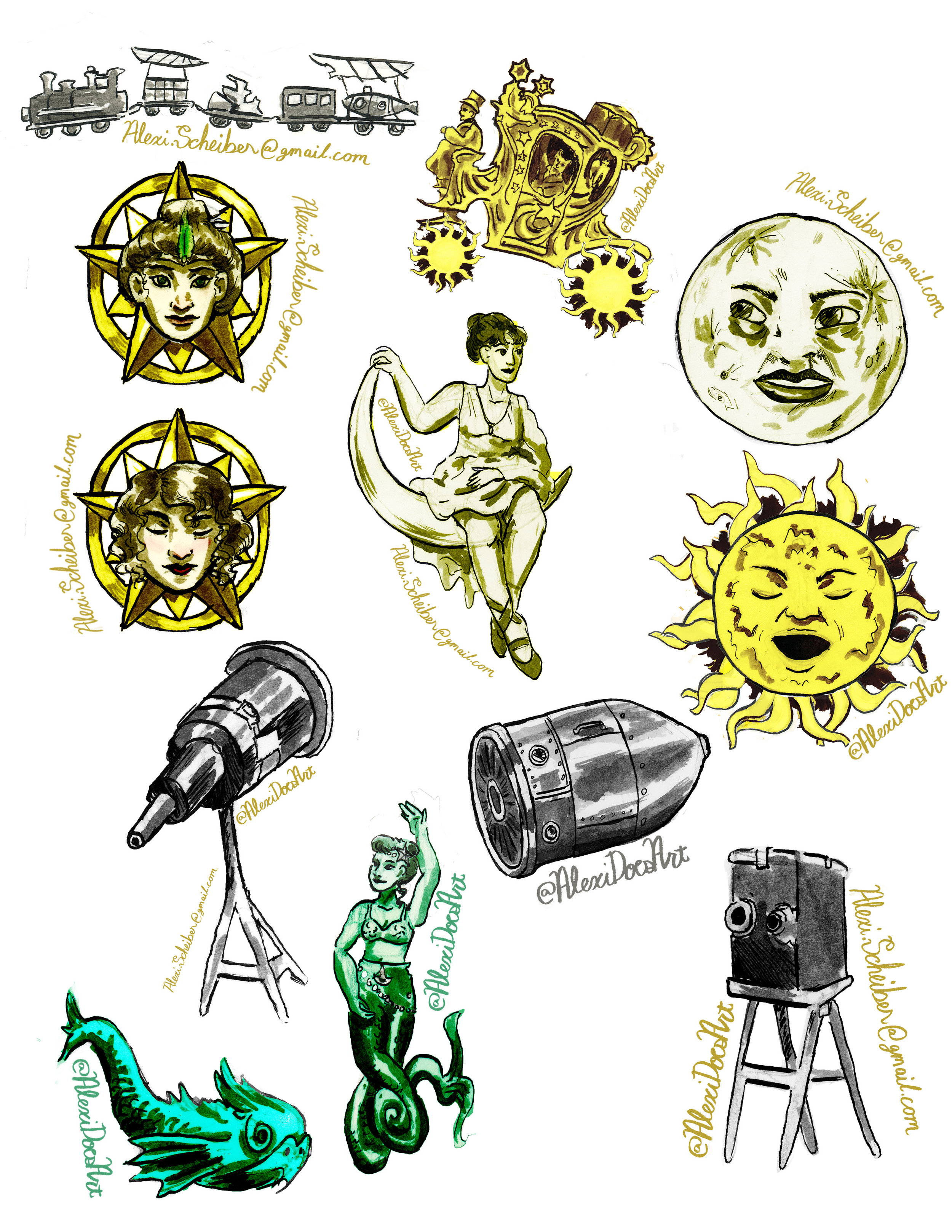 Georges Meilies Sticker set, themed after the first fantasy filmmaker. -