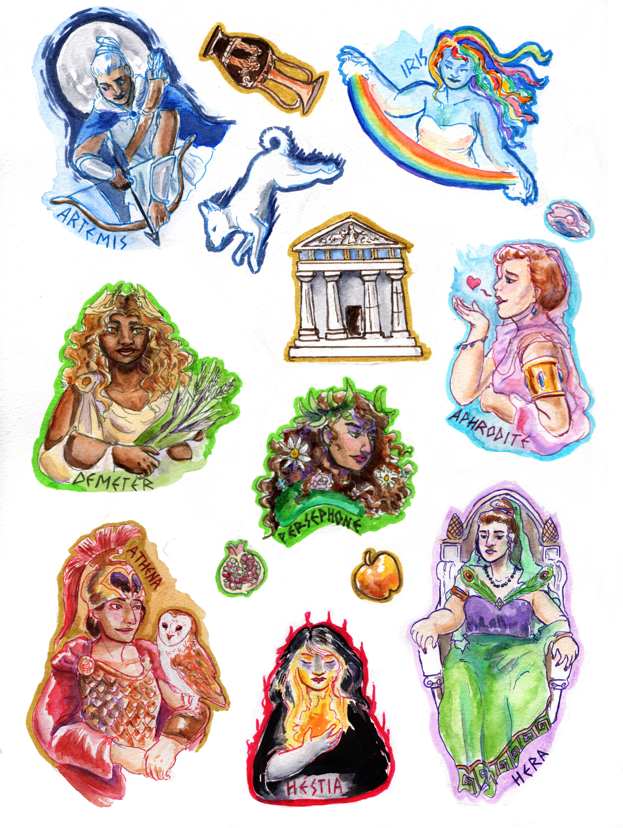 Greek Goddess Sticker Set -