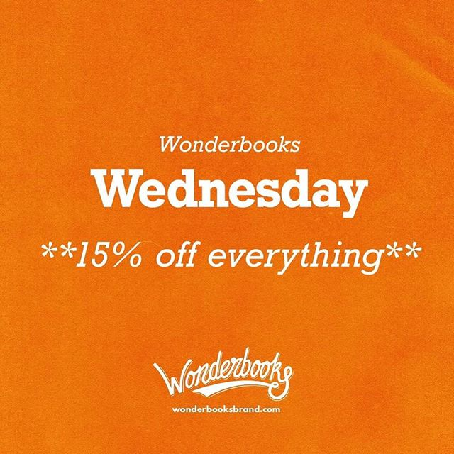 Surprise, Happy Wednesday! Take 15% off everything in the store with the coupon code WONDERWEDS at checkout, including the new Iterator! Ends at midnight. #wonderbooks