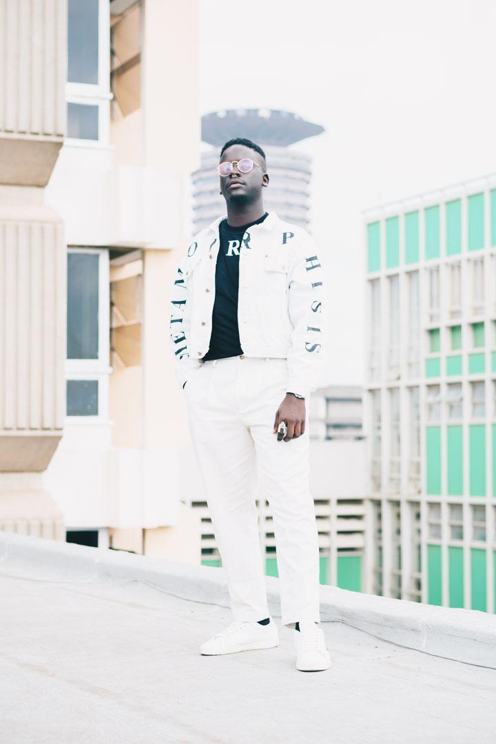 Mano Black in Non-TelevisedTM White Unzipped Denim Jacket