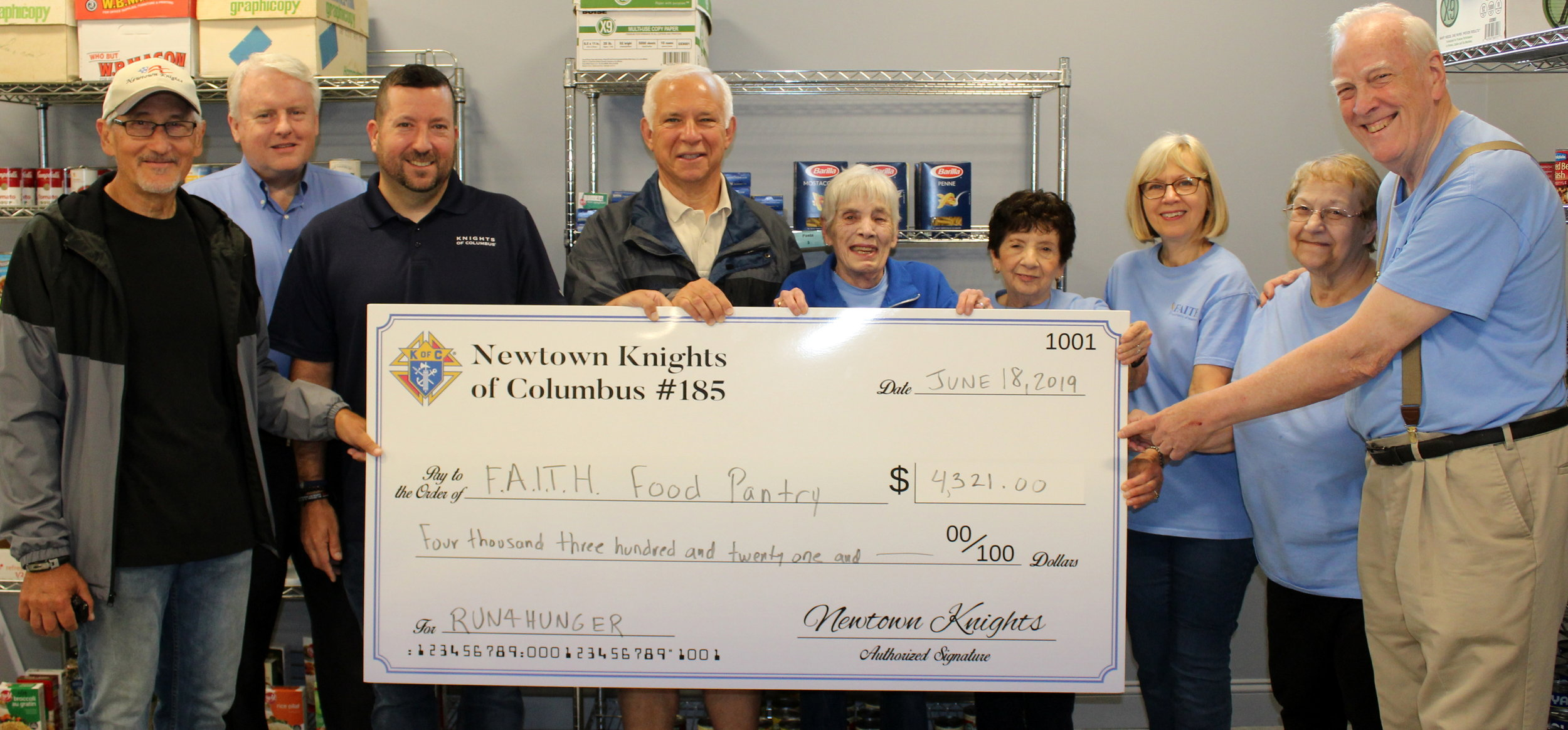 The Newtown Knights were able to officially present a check to the  FAITH Food Pantry  with all of the funds raised from the Run4Hunger-Newtown 5k race. We also were able to donate over 1,300 canned goods. Thank you to all those who participated and donated. We would not be able to do what we do without your help and generosity.  Also, a special thank you to  The Newtown Bee  for the well-written article:  click here