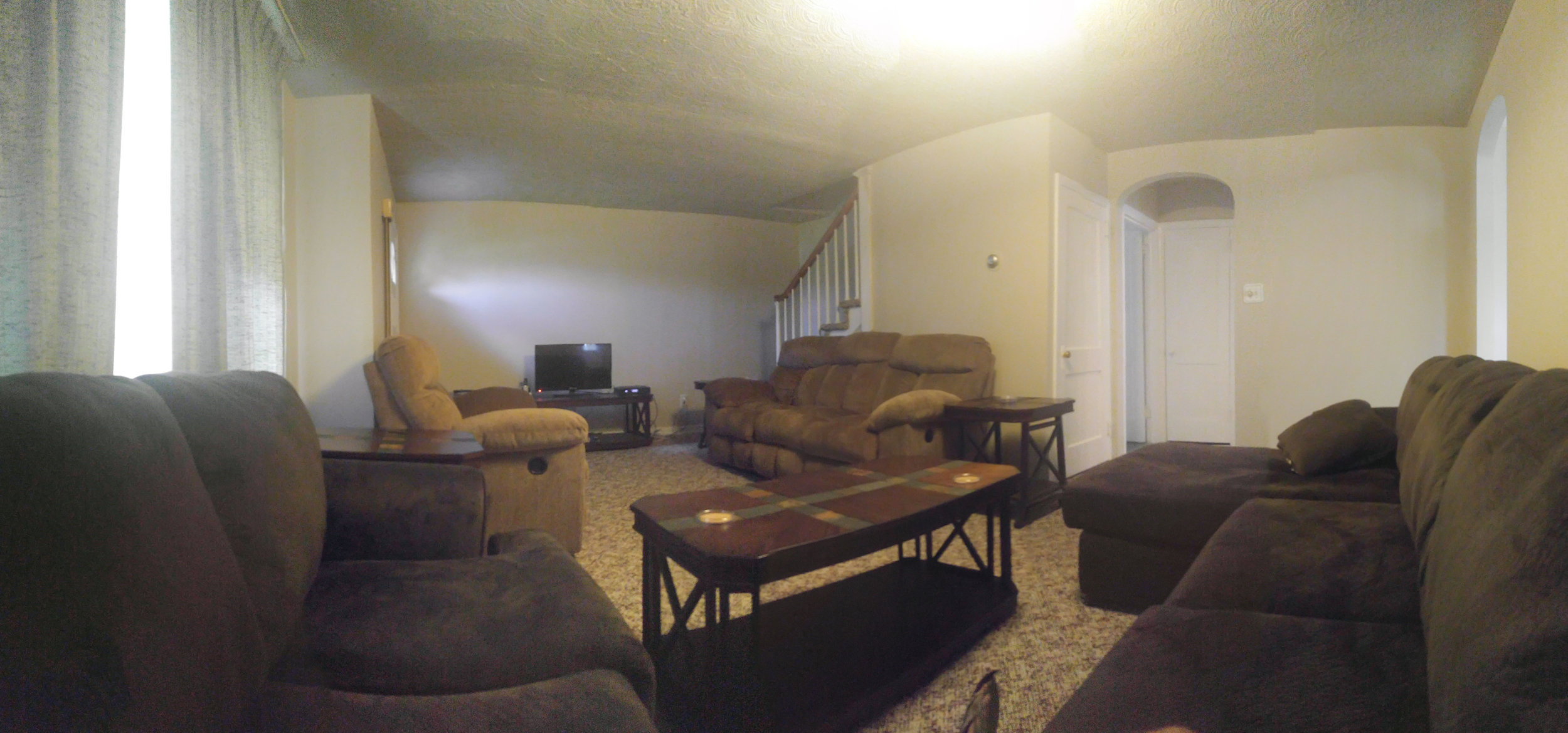 Our living room is furnished with contemporary furniture -