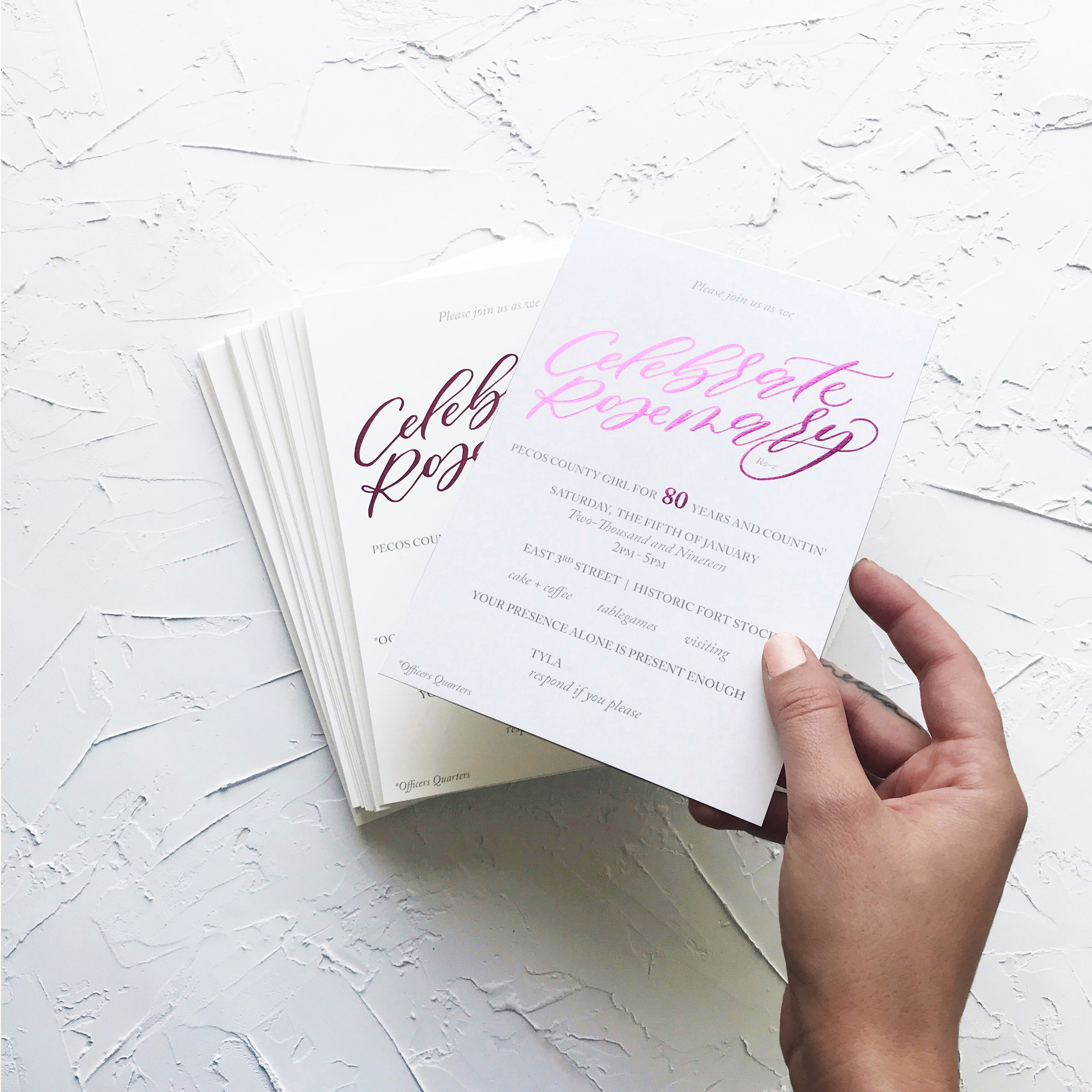 Custom Luxury Birthday Pink Foil Invitations | Sojourn Art and Ink