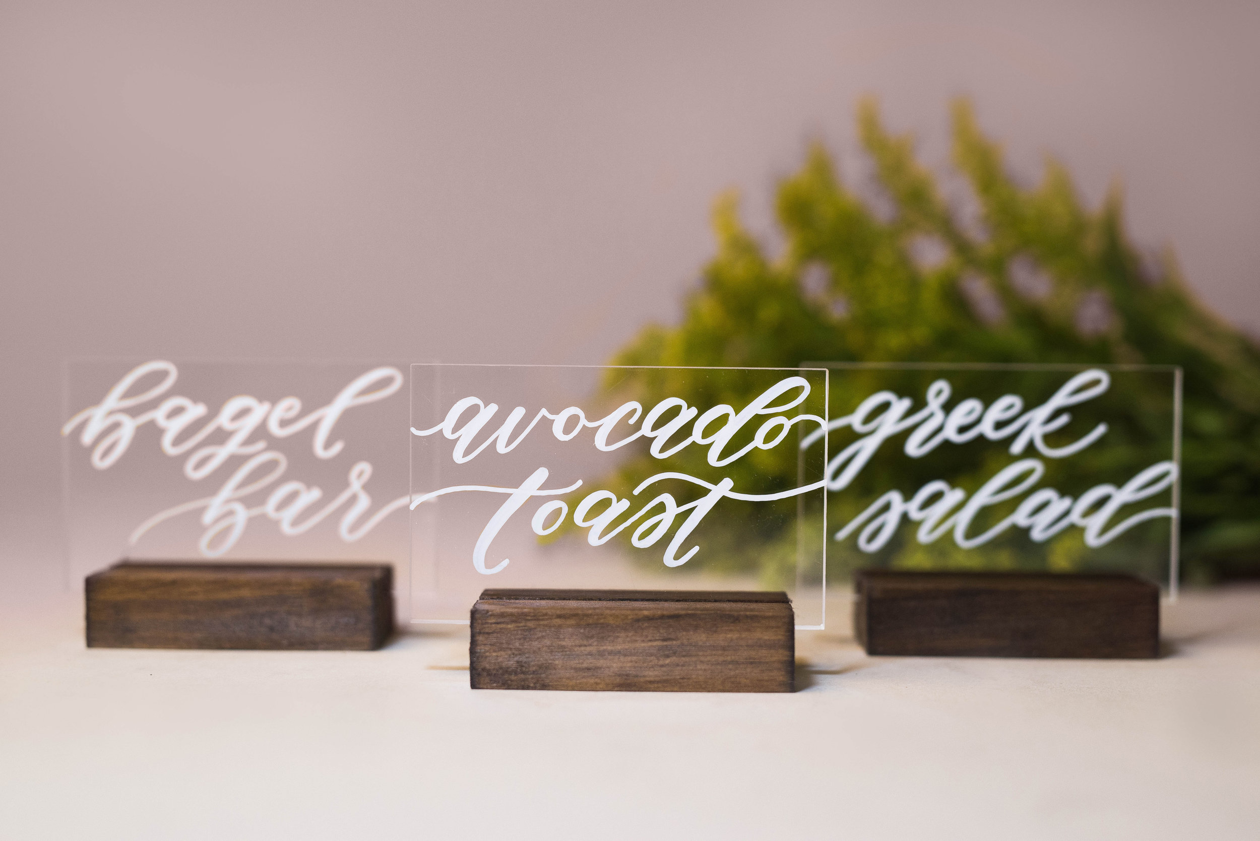 Custom Acrylic and Wood Stand Place Cards | Custom Day-of Items | Sojourn Art and Ink