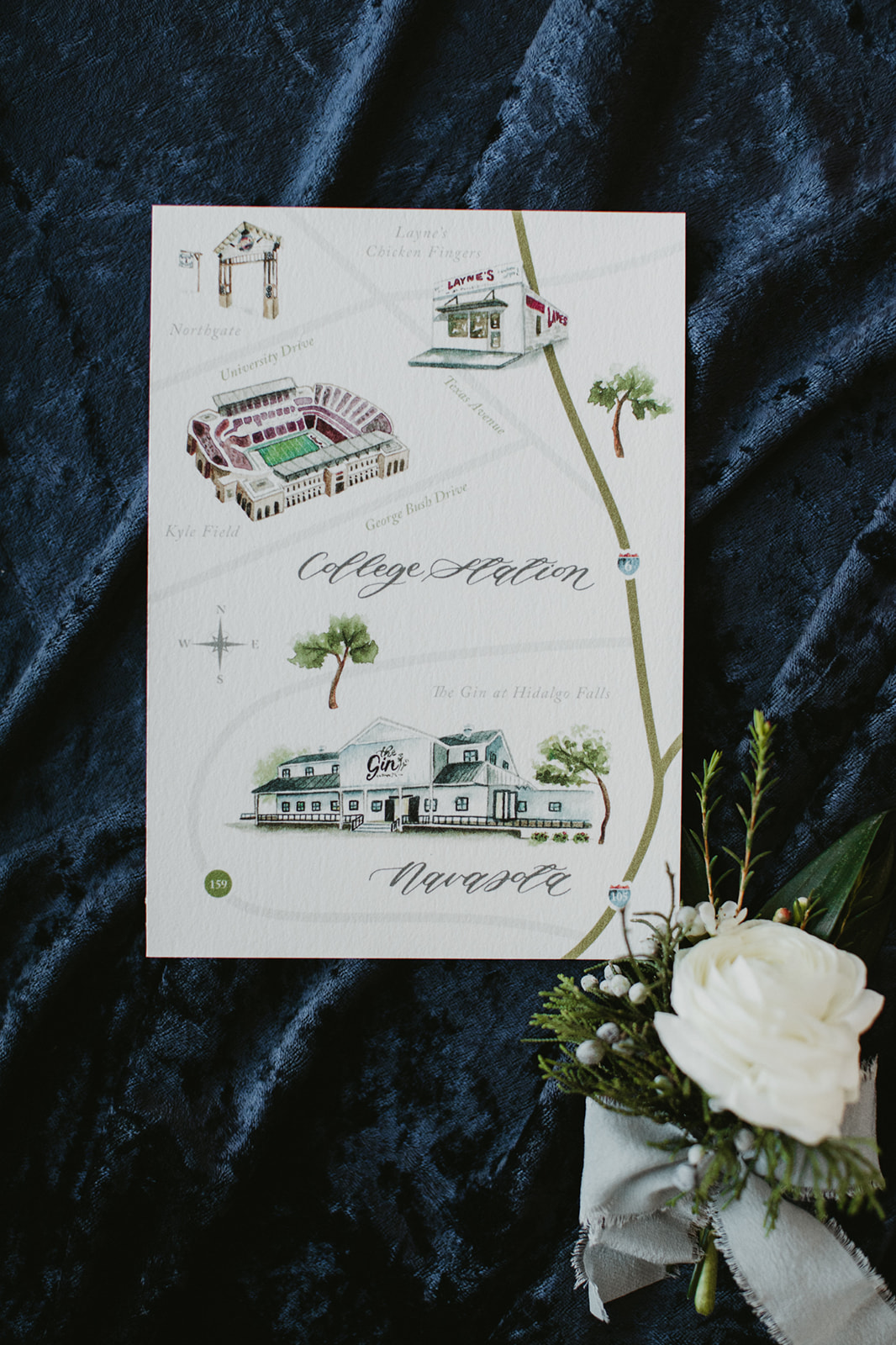 Custom Watercolor Map of College Station | Sojourn Art and Ink