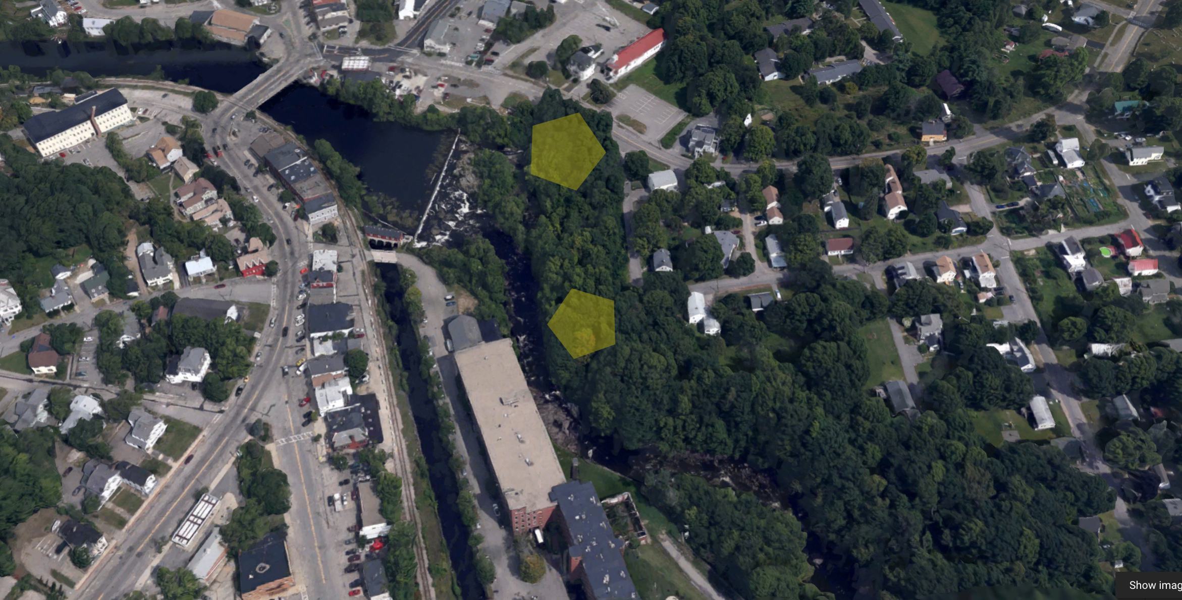 Site of two landings on the north and south ends of the riverbank along the Salmon Falls River, below the Great Falls Dam and alongside Saw Mill Hill Road and Moulton Street in Berwick.