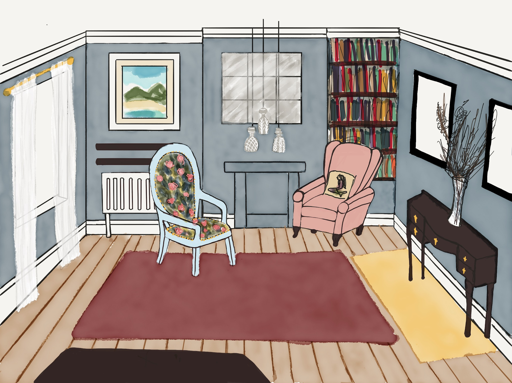 Charlotte's own sketch of a design for an upstairs snug that she's currently in the process of creating
