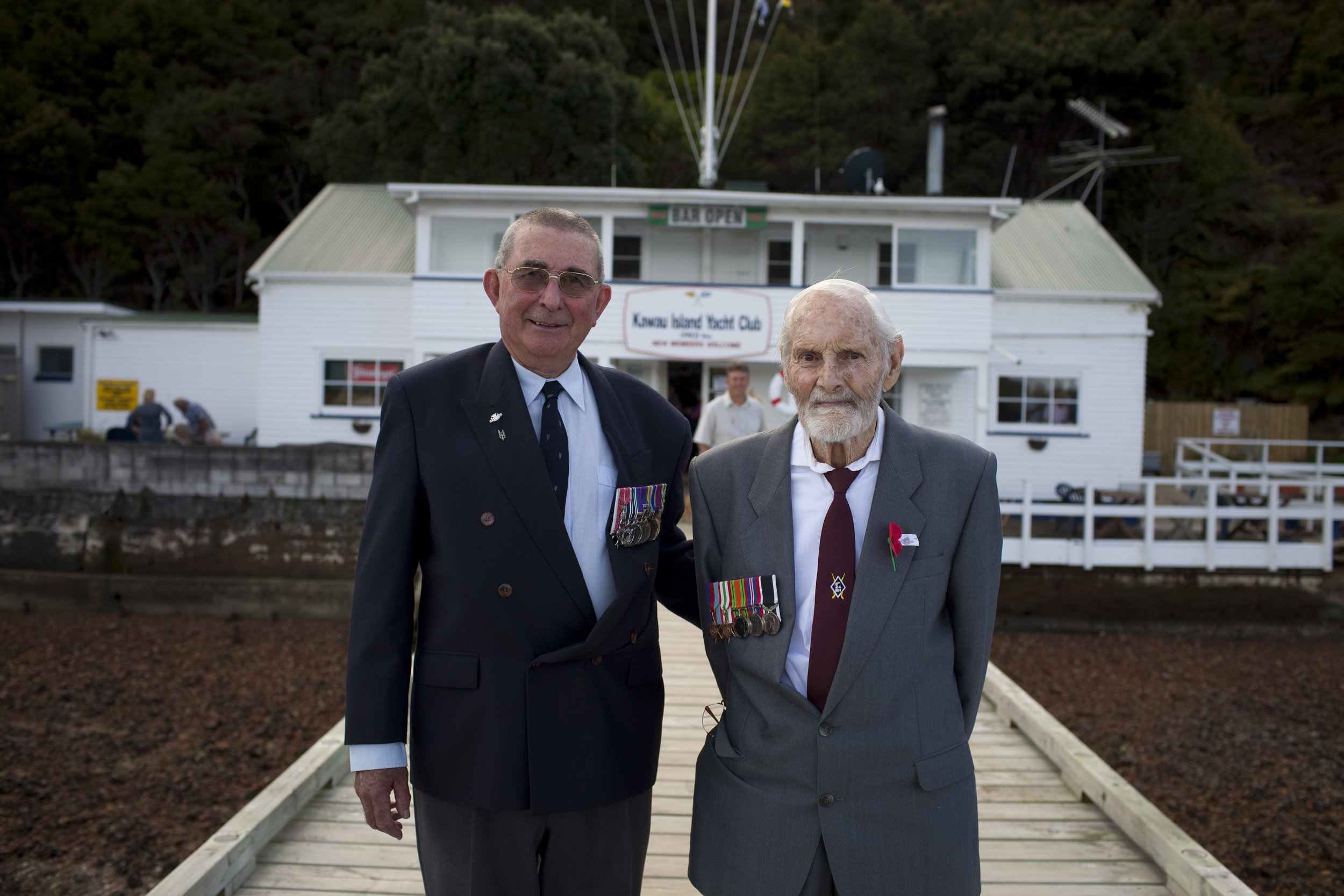 Honoured servicemen outside the Kawau Yatch Club
