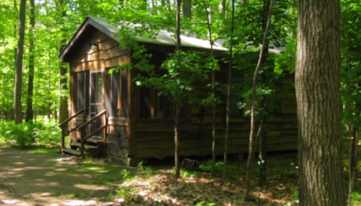 A cabin in the woods at the Christine Center.