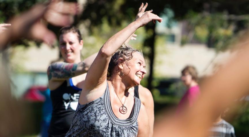 Tara Cindy Sherman teaches Radiant Shakti Flow at Yoga Rocks the Park.