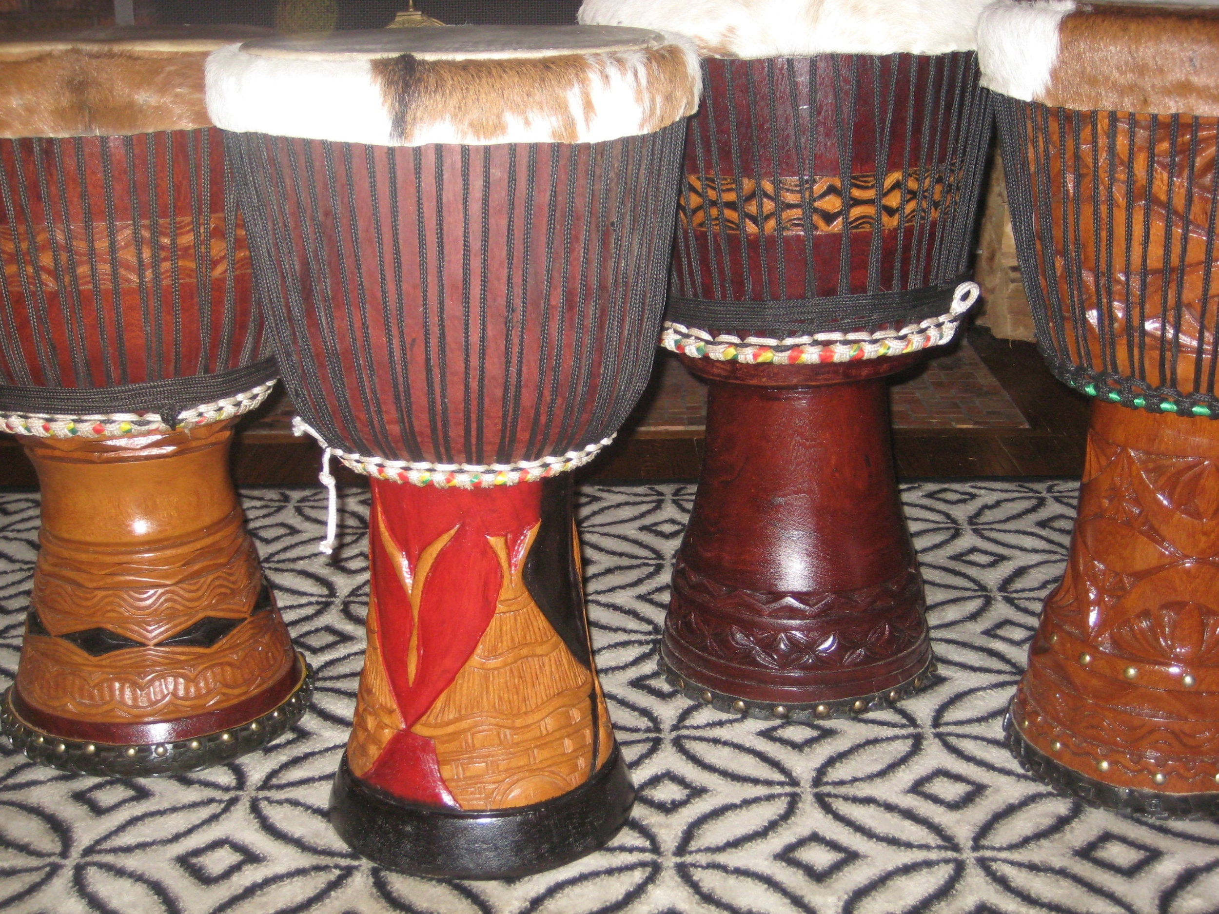 Group of African Djembe drums.
