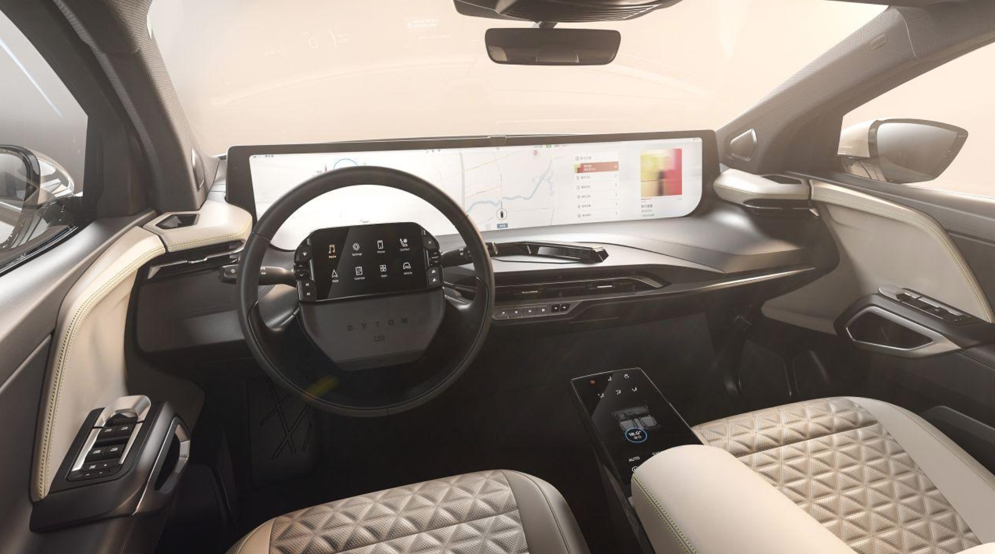 (Photo: Byton's dramatic, futuristic interior will be navigating the Autobahn as soon as next year)