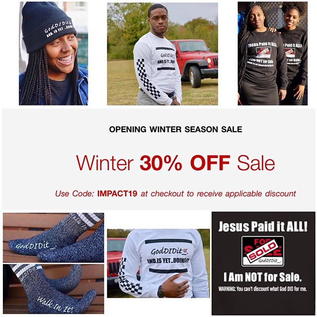 Winter SALE is in FULL effect‼️✨📌 30% OFF ALL items ONLINE—  Use Code: IMPACT19 at checkout❗️🛒 . . . #BeYOUtiful.  #trusttheprocess #BUTGod — #GodDIDit_ #fillintheblank #BIG #impact —  #shareyourstory #speakyourtruth #itiswellwithmysoul #itisfinished🙌 #smile #sale #30percentoff #wintersale #godslove #saturday #dallas #church #christianapparel #christiantees #checkerboard #longsleeve #crewneck #winterfashion #photography #photoshoot #instagood #instadaily #comment4comment