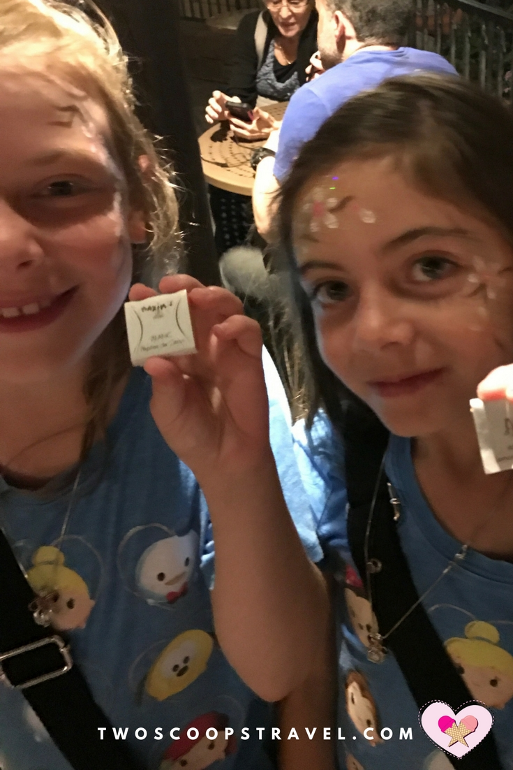 Two Scoops Travel tweens enjoying French chocolate in France at Epcot