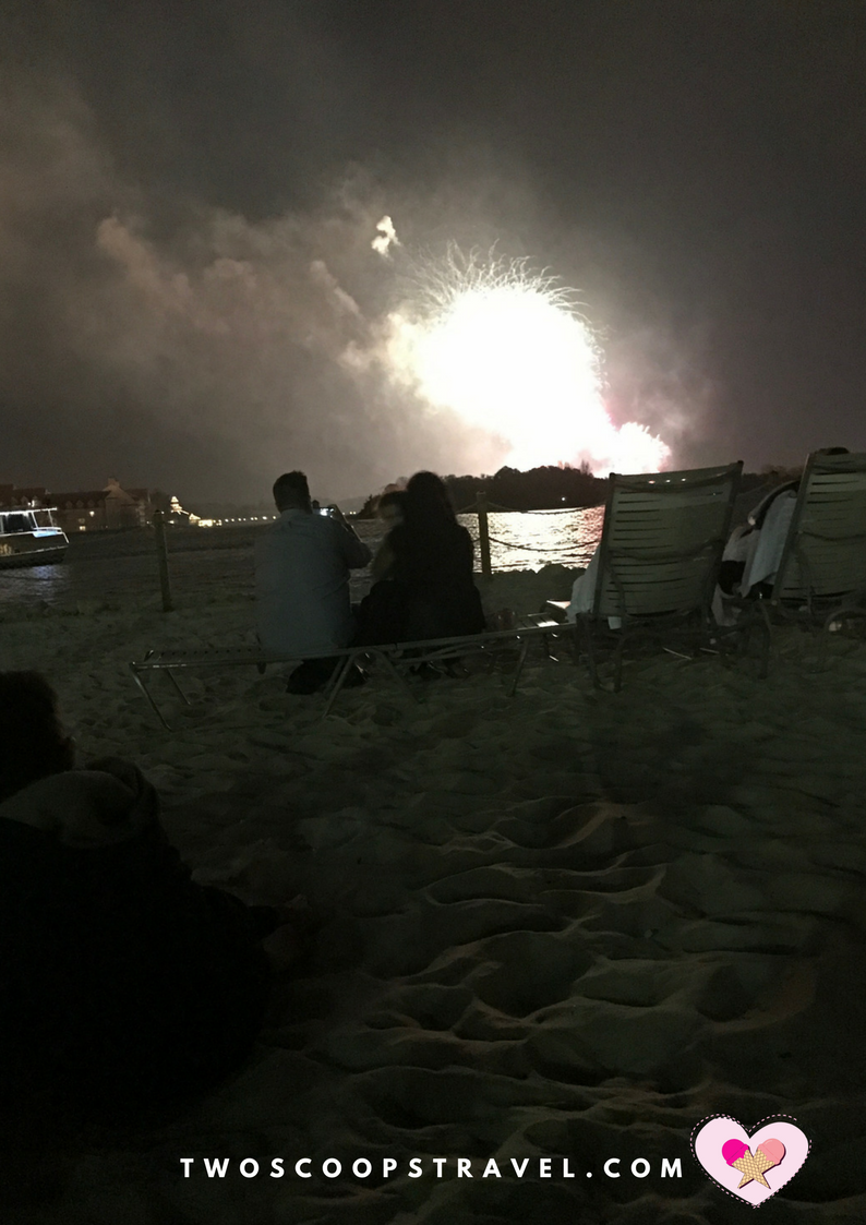Viewing Magic Kingdom Fireworks from Polynesian Resort Beach