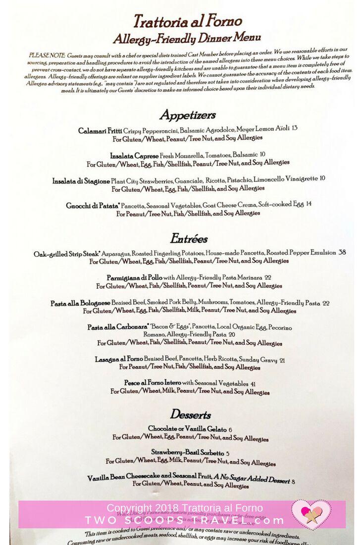 Trattoria al Forno Allergy Friendly (gluten free, dairy free, nut, soy allergy menu)