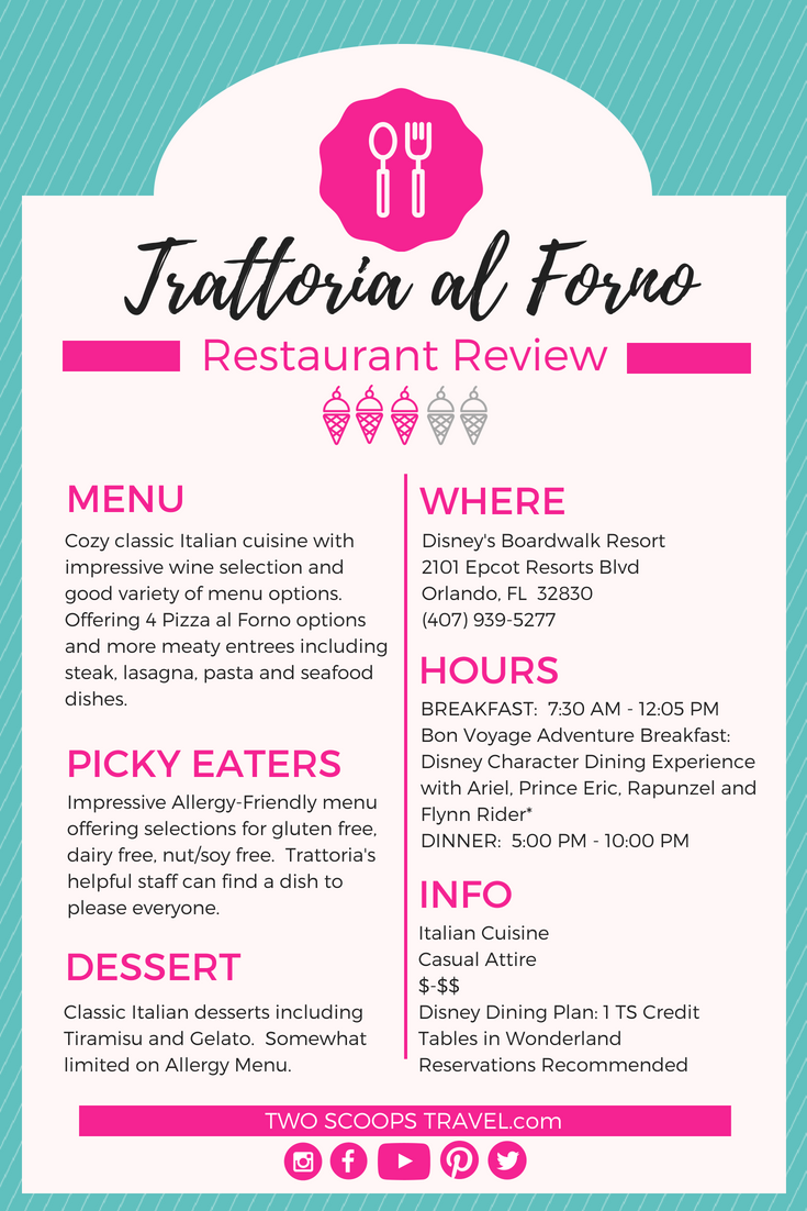 Two Scoops Travel's review of Trattoria al Forno at Disney's Boardwalk Resort