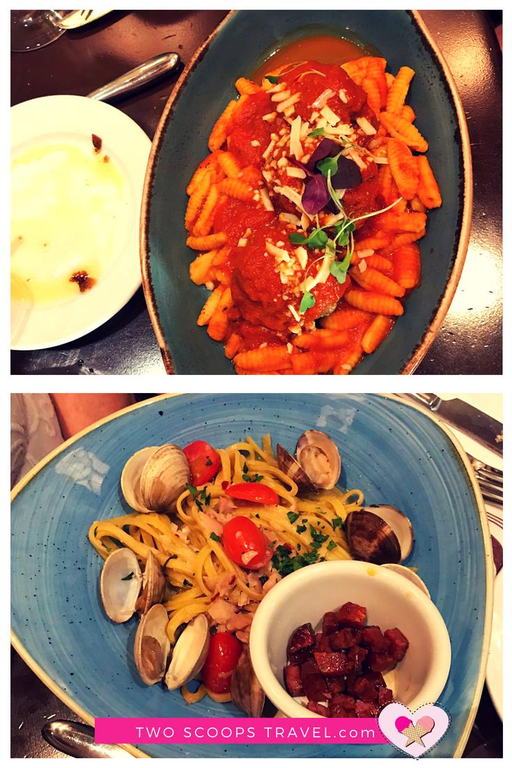 Pasta alla Vongola and Polpetta at Trattoria