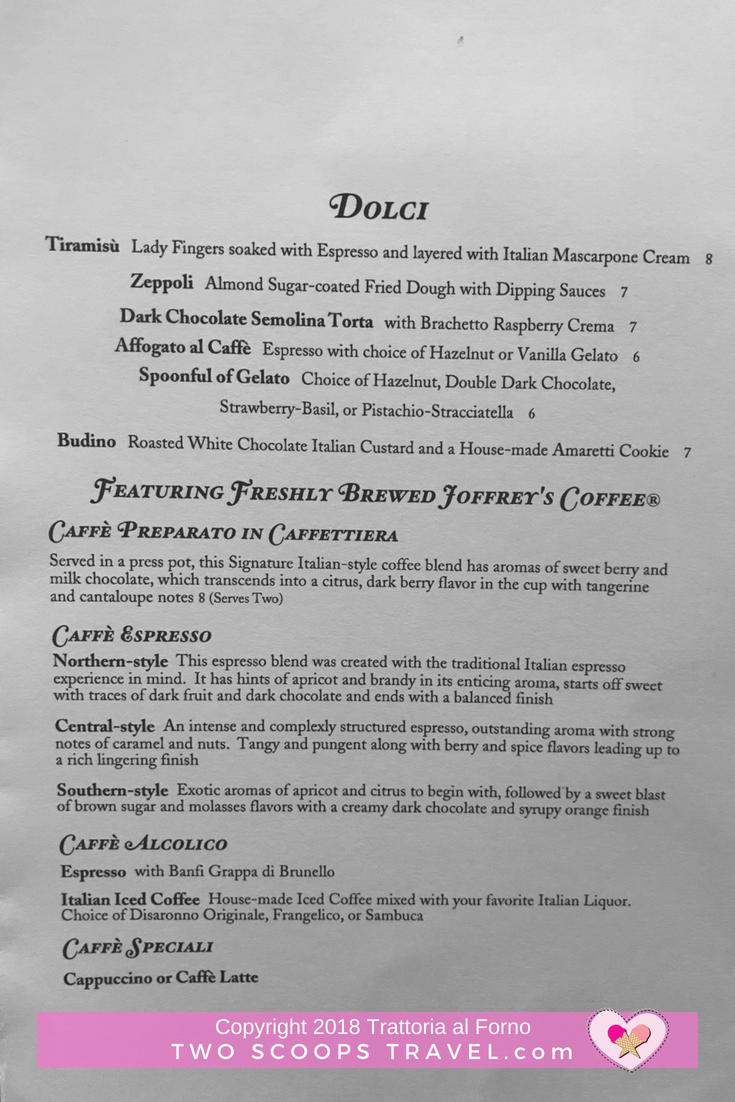 Trattoria al Forno Dessert Menu