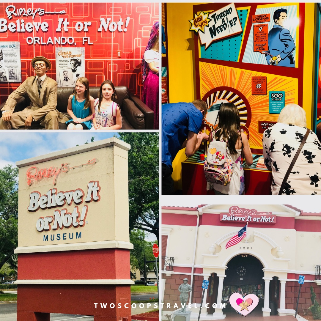 Collage of fun moments at Ripleys Believe It or Not Museum Orlando - copyright Two Scoops Travel 2018